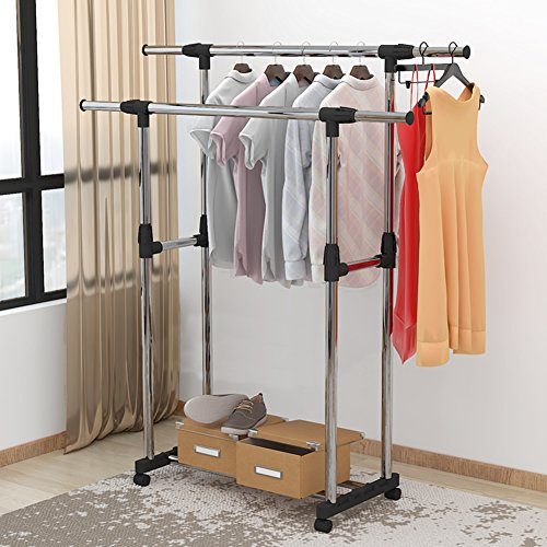 lililili Double rail garment racks clothes racks commercial grade height Adjustable Heavy duty Clothing racks Floor standing Multifuctional Hanger-black