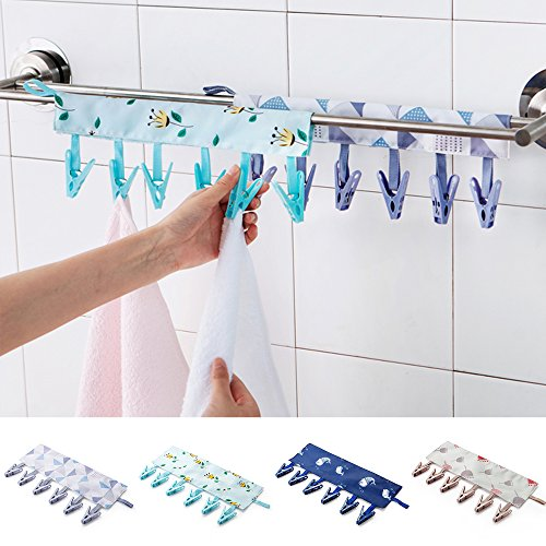 CCseesea Portable Hanger Clip Laundry Hook Hanging Clothes Multi-Purpose Travel Home Clothing Boot Hanger Hold Clips Cloth Art (Lattice, Small(only Hanger Clip))