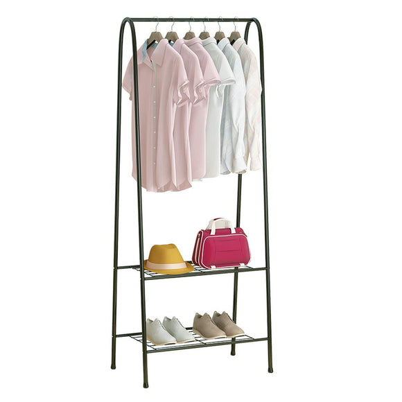 Fresh Household Freestanding Closet, Double Rod Heavy Duty Garment Rack 2-Tier Metal Hanging Clothes Rack Portable Closet with Bottom Shelves for Shoes Storage - Black