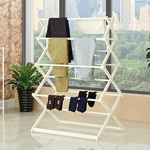 LE Household Floor Drying Racks,Double Pole Coat Rack Folding Coat Rack Balcony Indoor Hanger Drying Rack B