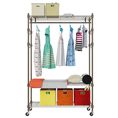 Rolling Wire Shelving Garment Rack, Metal Clothes Rack Organizer with 4 Adjustable Side Hooks and Single Hanger Bar