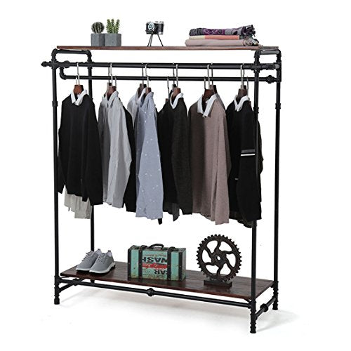 Qianniu Industrial Pipe Clothing Rack Garment Rack Pipeline Vintage Rack Closet Organizer Steampunk Decor a Rack Double Rod Hang Rail Department Store Style Clothes Garment Floor Display Rack