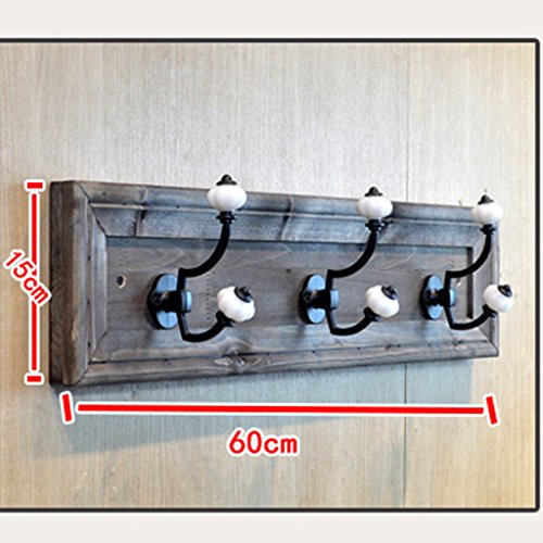 XF Garment Racks Hook - Link to Solid Wood Hanger Display Stand Bathroom Bathroom Wall Hanging Cloak Hook Bathroom Accessories Hook (Size 15X60CM) Clothing & Closet Storage (Color : B)