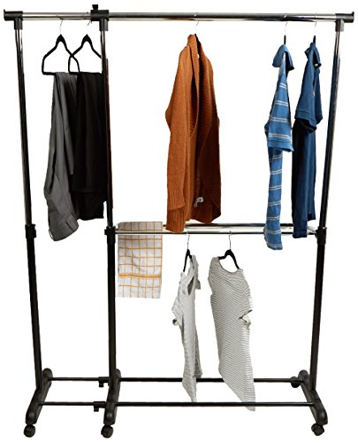 Mind Reader Single Rail Clothing Garment Rack, Extendable, Black