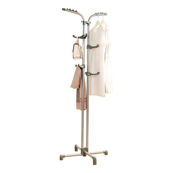 Baoyouni Heavy Duty Metal Coat Rack Standing Entryway Hall Tree Hat Purse Jacket Hanger, Adjustable Height Hooks Grey