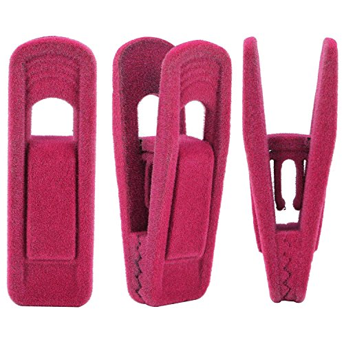 Corodo Velvet Hangers Clips, 20 Pack Hanger Clips for Use with Slim-line Clothes Velvet Hangers, Hot Pink Strong Finger Clips for Hangers