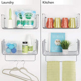 Featured mdesign metal wire farmhouse wall decor storage organizer shelving set 1 shelf with towel bar for bathroom laundry room kitchen garage wall mount 2 pieces chrome