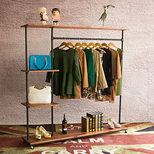 MZGH ISLAND Industrial Style Rolling Clothes Rack with Wheels Pipe Shelves, Heavy Duty Commercial Grade Garment Rack,Bags Organizer,Shoes Storage Wood Shelf 47.2