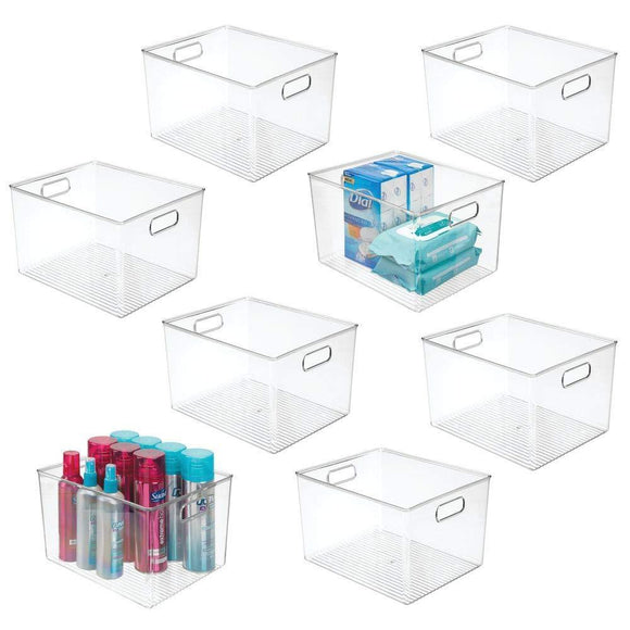 Order now mdesign plastic storage organizer bin tote for organizing bathroom hand soaps body wash shampoo lotion conditioners hand towels hair accessories body spray mouthwash 8 high 8 pack clear