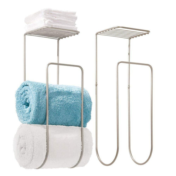 Try mdesign modern metal wall mount towel rack holder and organizer with storage shelf for bathroom organizing of washcloths hand face or bath towels beach towels 2 pack satin