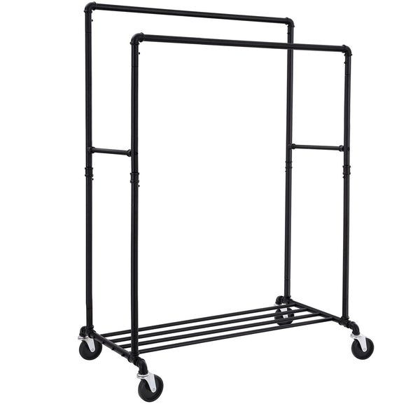 SONGMICS Industrial Pipe Double Rail Wheels with Commercial Grade Clothing Hanging Rack Organizer for Garment Storage Display Black UHSR60B