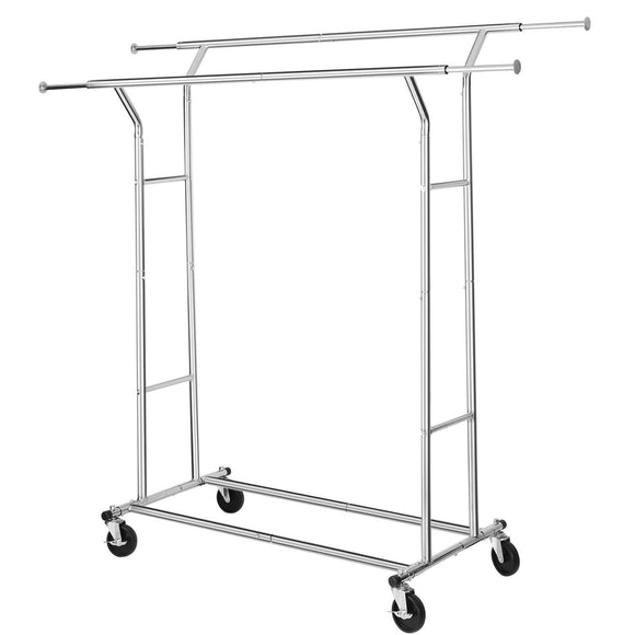 SONGMICS Double-Rail Garment Rack, Rolling Clothes Rack, with Bottom Rods, for Coats, Shirts, Dresses, Scarves, Bags, Shoe Boxes, Chrome ULLR23C