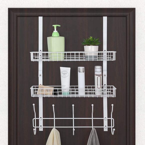 Related nex upgrade over the door hook shelf organizer 5 hooks with 2 baskets storage rack for coats towels chrome white