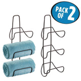 Buy now mdesign metal wall mount 3 level bathroom towel rack holder organizer for storage of bath towels washcloths hand towels robes 2 pack bronze