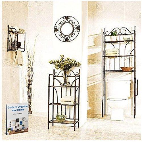 Budget friendly 3 piece bathroom organizer spacesaver with over the door hooks hanger hanging clothes towel shelf tissue over the rack toilet cabinet floor shelving towel ebook by easy2find