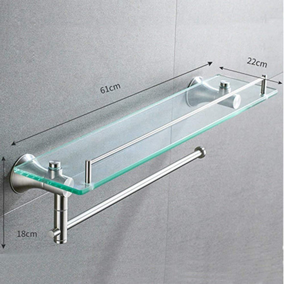 Featured deed wall hanging mount rack toilet stainless steel double shelf tempered glass bathroom wall hanging towel rack 2 layers storage rack 612218cm