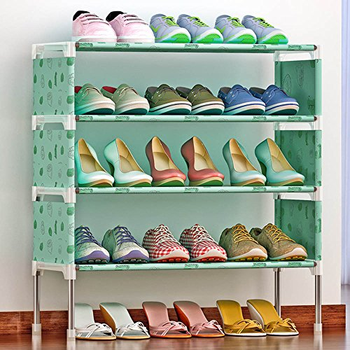 FKUO Multicolor 4 Tier Shoe shelf Easy Assembled Non-woven Shoe Rack Shelf Storage Organizer Stand Holder Living room decoration shoe cabinet (K125 Green lemon)