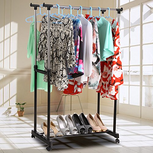 Dozenla Heavy Duty Clothing Garment Rack - Chrome,2 Rolling Rail Adjustable Hanging Garment Hangers, Heavy Duty Rack Stainless Steel Pole Floor Type Racks(US Stock)