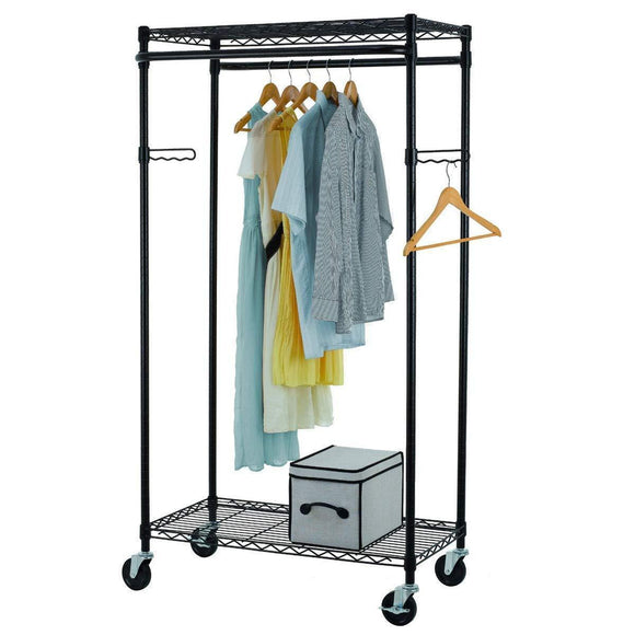 Tidyliving Garmen Heavy Duty Garment Rack, Commercial Grade, Double Rod Rolling Organizer, Adjustable Hanging Clothes Stand
