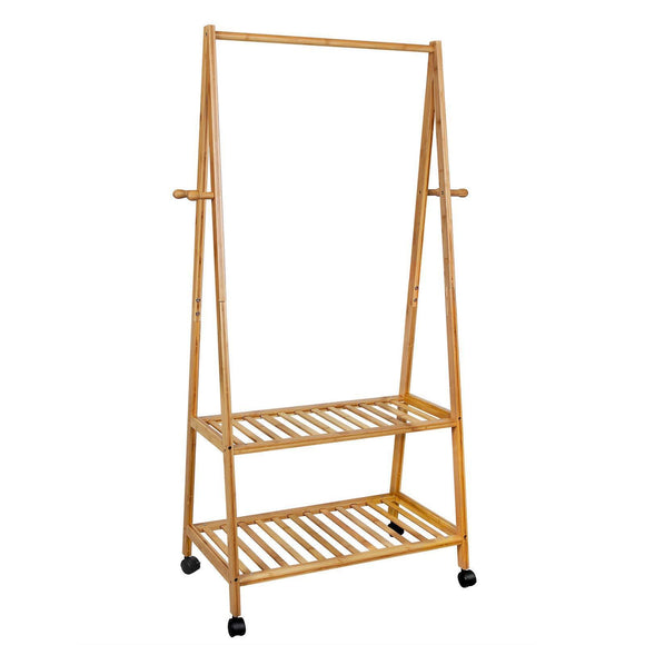 SONGMICS Rolling Coat Rack, Bamboo Garment Rack, Clothes Hanging Rail with 2 Shelves 4 Hooks, for Shoes, Hats and Scarves, in the Hallway, Living Room, Guest Room
