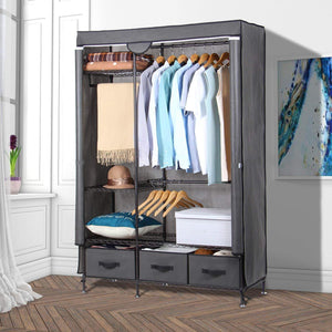 Lifewit Full Metal Closet Organizer Wardrobe Closet Portable Closet Shelves with Adjustable Legs, Non-Woven Fabric Clothes Cover and 3 Drawers, Sturdy and Durable, Large Size