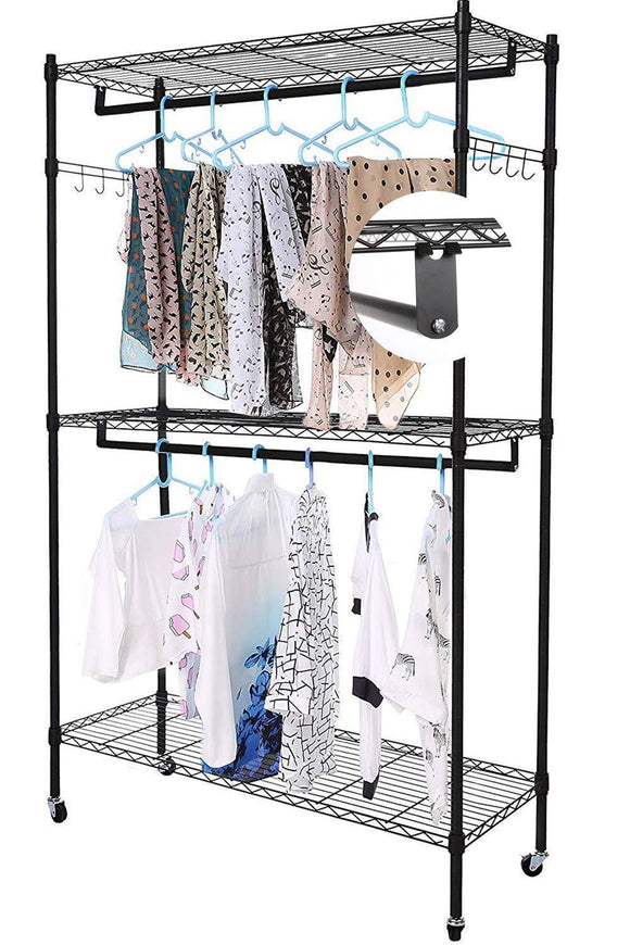 Miageek Heavy Duty Garment Rack Rolling Clothes Rack Free-Standing Shelving Wardrobe Clothes Closet,Storage Organizer with Hanging Rods and Lockable Wheels (Black - Two Pair Hook)