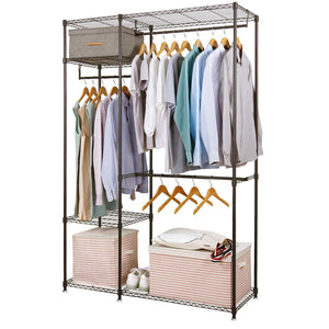 Lifewit Portable Wardrobe Clothes Closet Storage Organizer with Hanging Rod, Adjustable Legs, Quick and Easy to Assemble, Large Capacity, Dark Brown