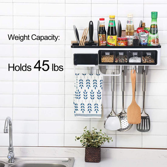 Shop here juyou kitchen wall pot rack caddy shelves with towel bar 7 hanger hooks cutlery cooking knife utensils mugs holder pan cookware pantry organization storage 20 inch black