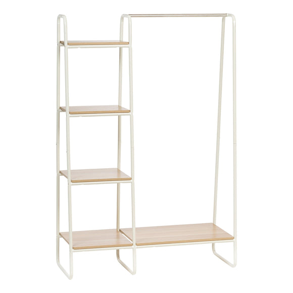 IRIS Metal Garment Rack with Wood Shelves, White and Light Brown