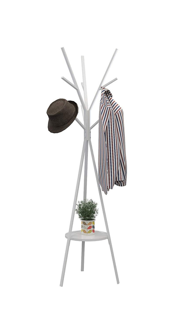 Homebi Coat Rack Hat Stand Free Standing Display Hall Tree Metal Hat Hanger Garment Storage Holder with 9 Hooks for Clothes Hats and Scarves in White,17.72