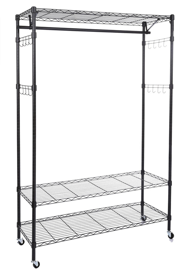 Homdox 3-Tiers Big Size Heavy Duty Wire Shelving Unit Garment Rack with Hanger Bar Wheels+2 Pair Side Hooks,Black
