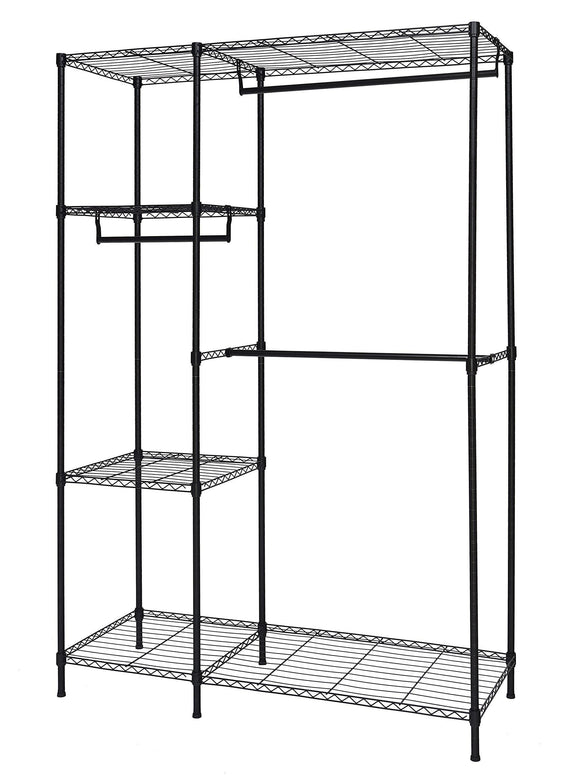 Finnhomy Heavy Duty Wire Shelving Garment Rack for Closet Organizer Portable Clothes Wardrobe Storage with Adjustable Shelves and Hangers,Thicken Steel Tube,Black