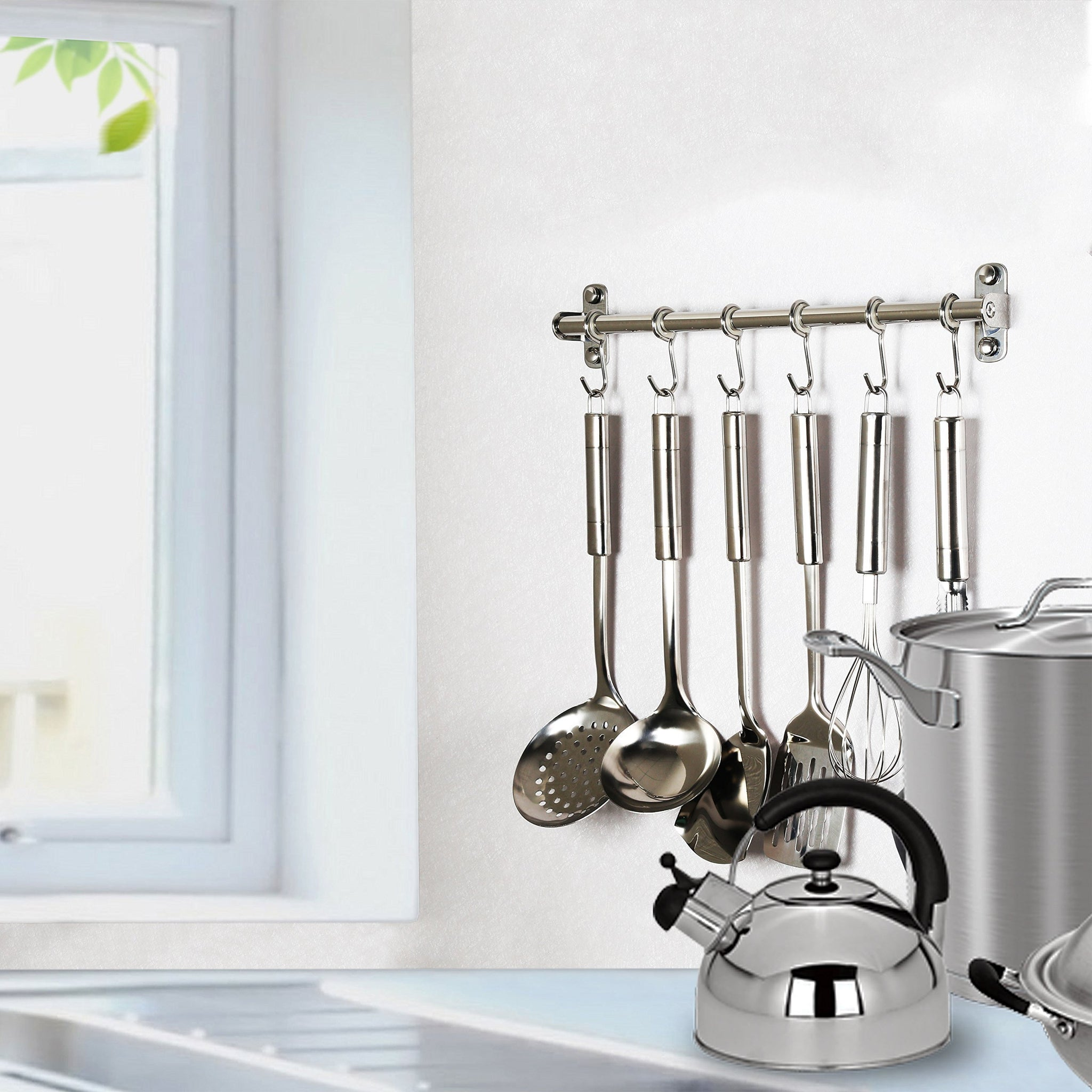 Spoon Solid Stainless Steel Hanging Rack Rail with 14 Utensil Removable S Hooks for Towel Pot Pan Loofah WEBI Kitchen Sliding Hooks Wall Mounted Bathrobe