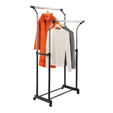 Heavy Duty Double Bar Hanging Garment Rack, Black/Chrome
