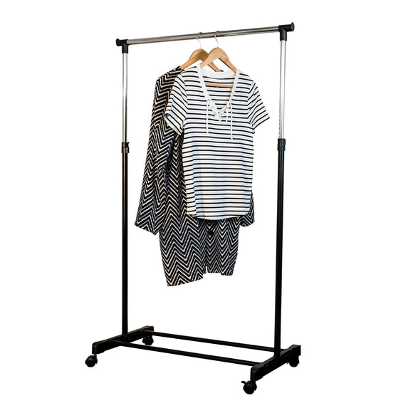 Height-Adjustable Rolling Clothes Rack with Shoe Shelf, Black/Chrome