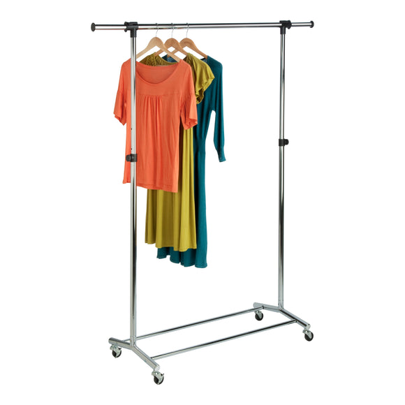 Rolling Chrome Garment Rack