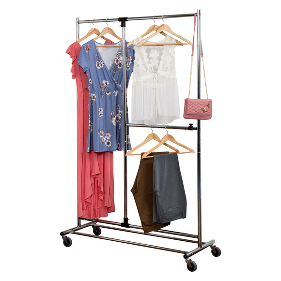 Double Rod Rolling Garment Rack, Silver
