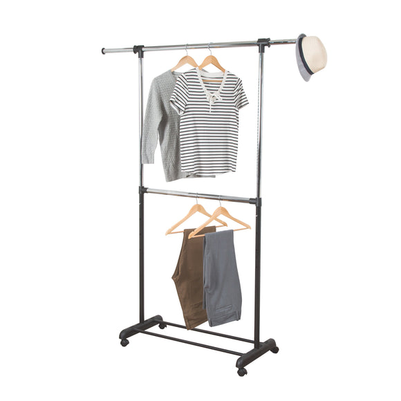 Expandable Dual Rod Garment Rack with Wheels, Chrome/Black