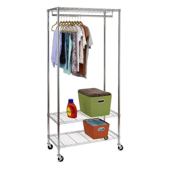 3-Shelf Deluxe Rolling Garment Rack, Chrome