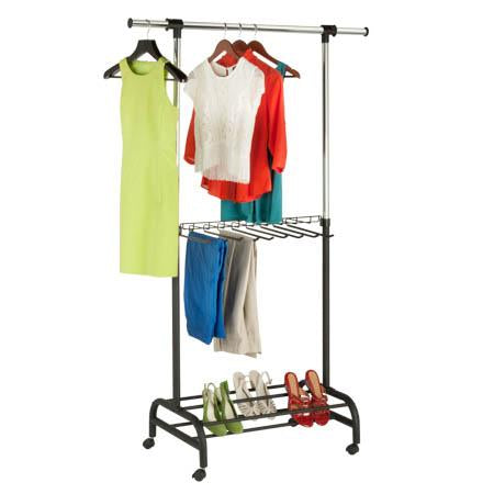 Rolling Garment Rack with Shelf and Shoe Storage
