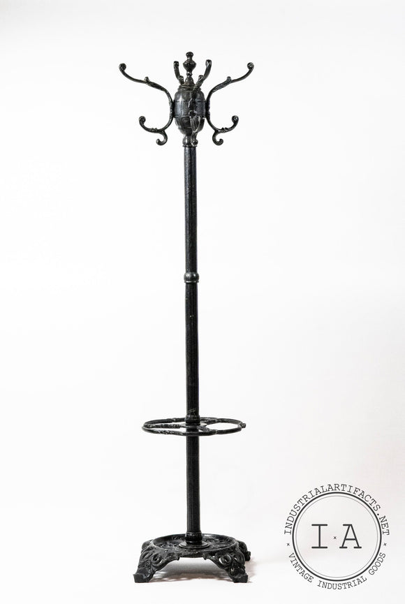 Large Vintage Cast Iron Coat Rack Hat Tree