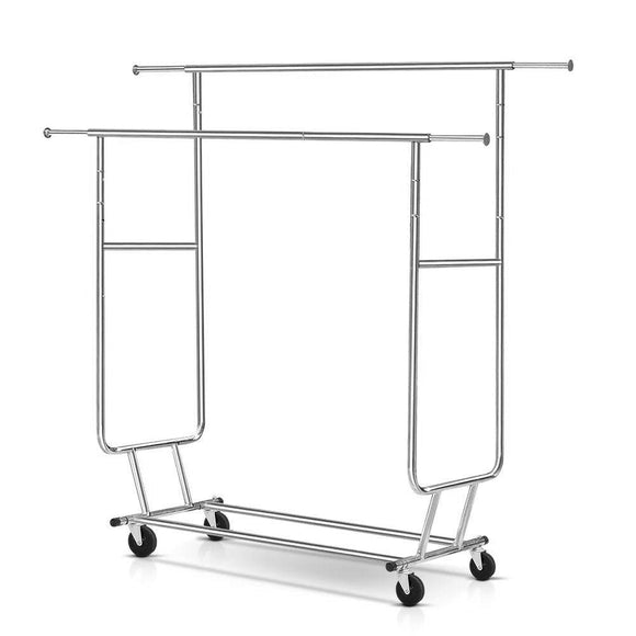 6FT Garment Rack Double Rail Commercial Hanger Stand