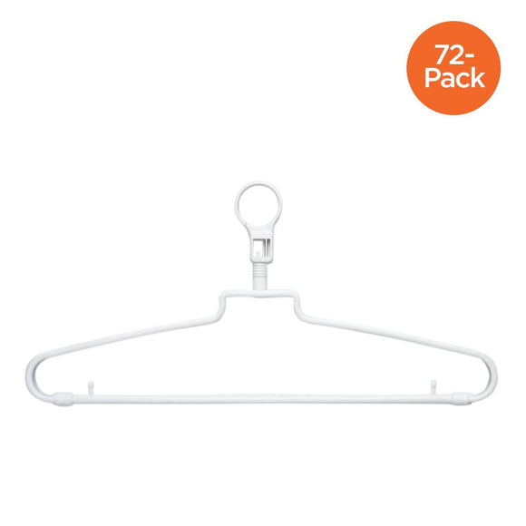 72-Pack Hotel Hangers with Security Loop, White