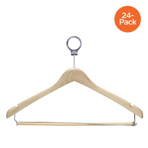 24-Pack Contoured Wood Hotel Hangers, Maple