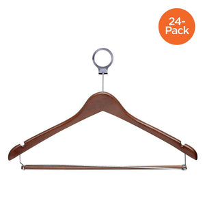 24-Pack Wood Contoured Hotel Hangers, Cherry