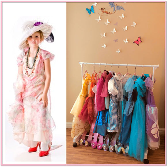 Children's Garment Rack™ - New Rolling Feature (Includes 10 Velvet Hangers) - Boottique