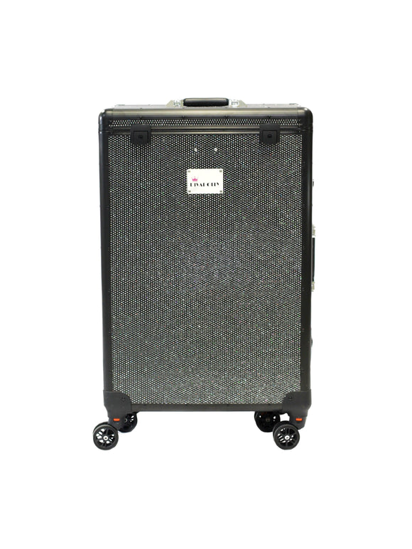 Black Crystal DivaDolly with Black Trim | Rolling Dance Bag Alternative with a Wardrobe Rack
