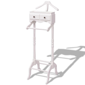 Clothing Rack with Cabinet Wood White