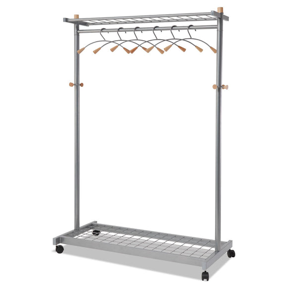 Alba Garment Racks, Two-Sided, 2-Shelf Coat Rack, 6 Hanger/6 Hook, 44.8w x 21.67d x 70.8h, Silver Steel/Wood