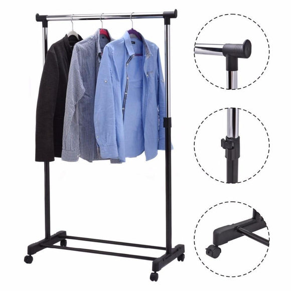 Adjustable Rolling Garment Rack Heavy Duty Clothes Hanger Portable Rail Rack Multifunctional